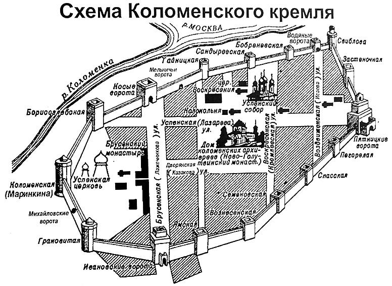 карта старой Коломны с